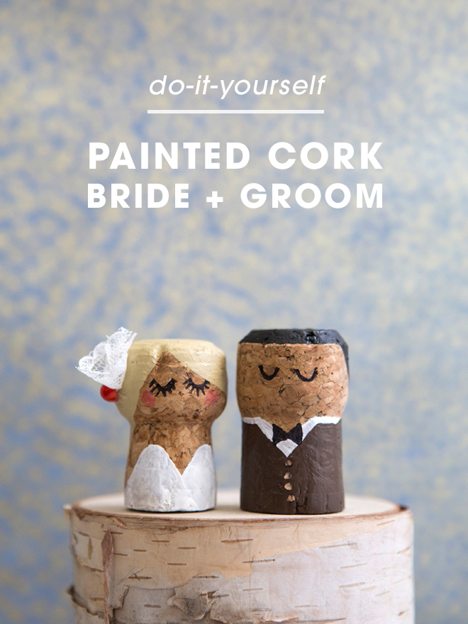 OMG, these DIY champagne cork bride and groom cake toppers are the cutest thing ever!