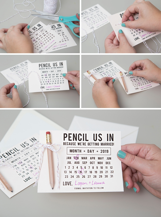 Use our free printables to make your own Pencil Us In, Save the Date invitations!