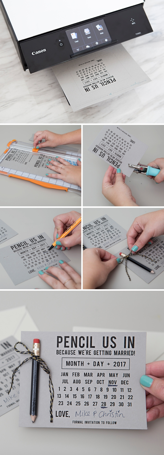 Learn how to make your own Pencil Us In Save the Date invitations!