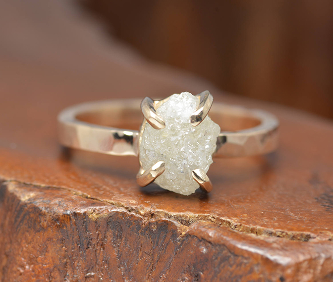 Raw Cut Engagement Ring