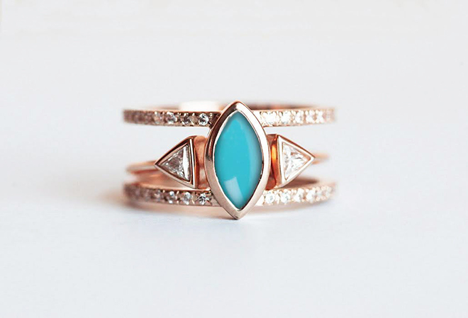 Modern stackable turquoise ring