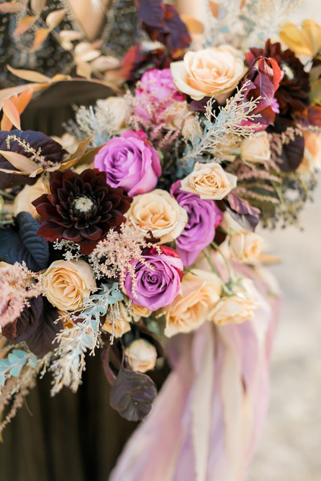 Shades of purple fall bouquet.