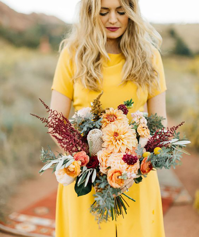 Fall colored bridal bouquet.