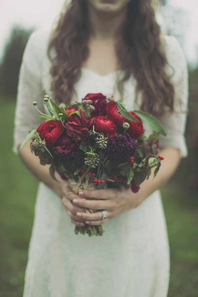 Berry colored fall bouquet