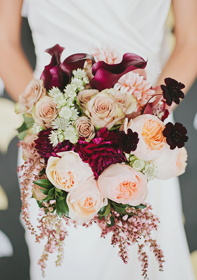 Red and peach fall bouquet.