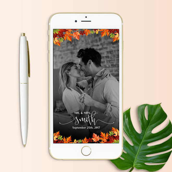 Fall wedding snap chat filter by Oh Lilly Designs