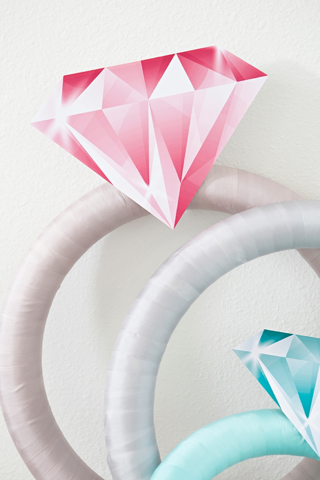 These giant DIY diamond rings will make for the perfect bridal shower decor!
