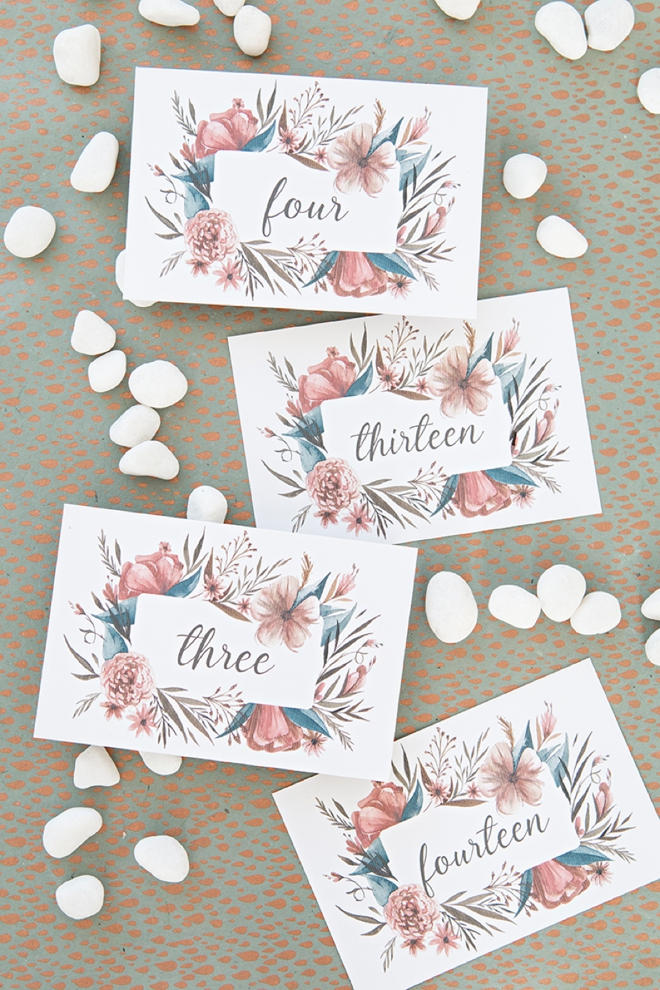 Print these darling fall floral table numbers for free!