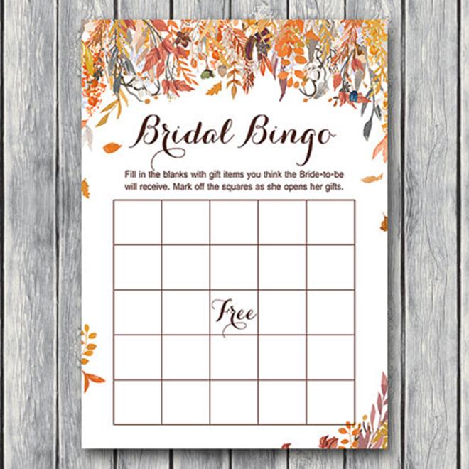 Fall bridal bingo printable by Bride and Bows