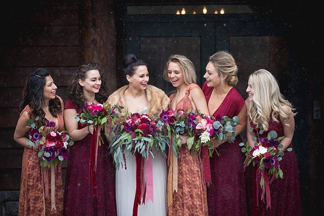 Persimmon bridesmaids wrap dresses by Coralie Beatrix