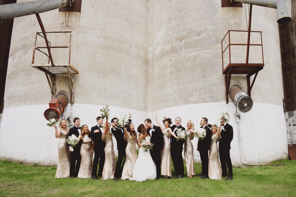 Glam and gold bridal party.