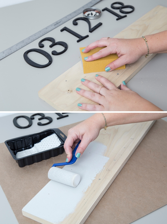 OMG, in love with this DIY address number wedding date sign!