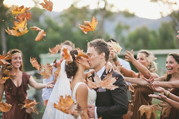 I like the idea of throwing leaves instead of rice at a wedding. This would be great for a fall wedding or engagement shoot.