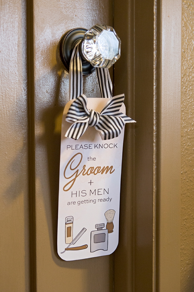 Please knock, the groom and his men are getting ready!