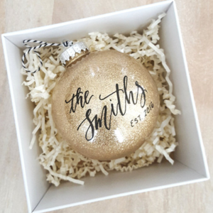 In LOVE with this gorgeous glittery gold personalized ornament! Perfect for the newlywed in your life!