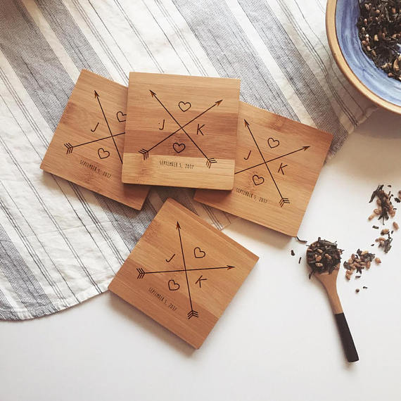 We're loving these gorgeous custom wood coasters!