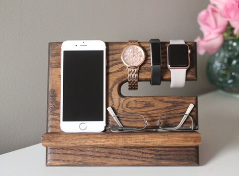 We're loving this wooden valet nightstand charging stand!