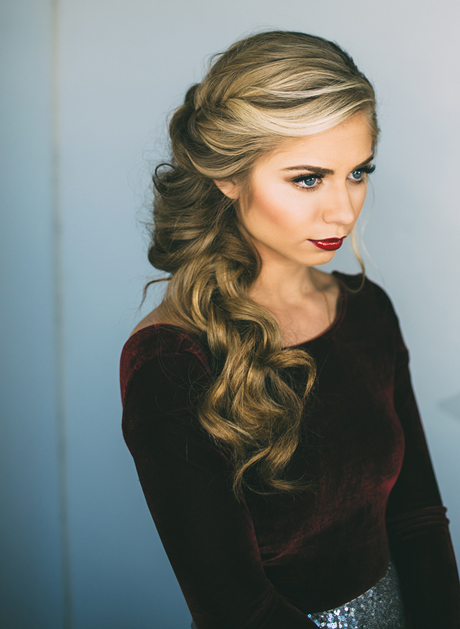 Bold and beautiful side braid for a dramatic holiday bride.