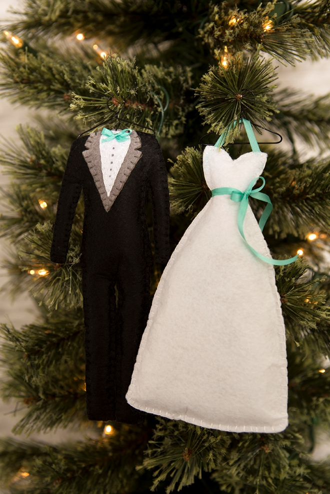 These Diy Felt Bride Amp Groom Christmas Ornaments Are So