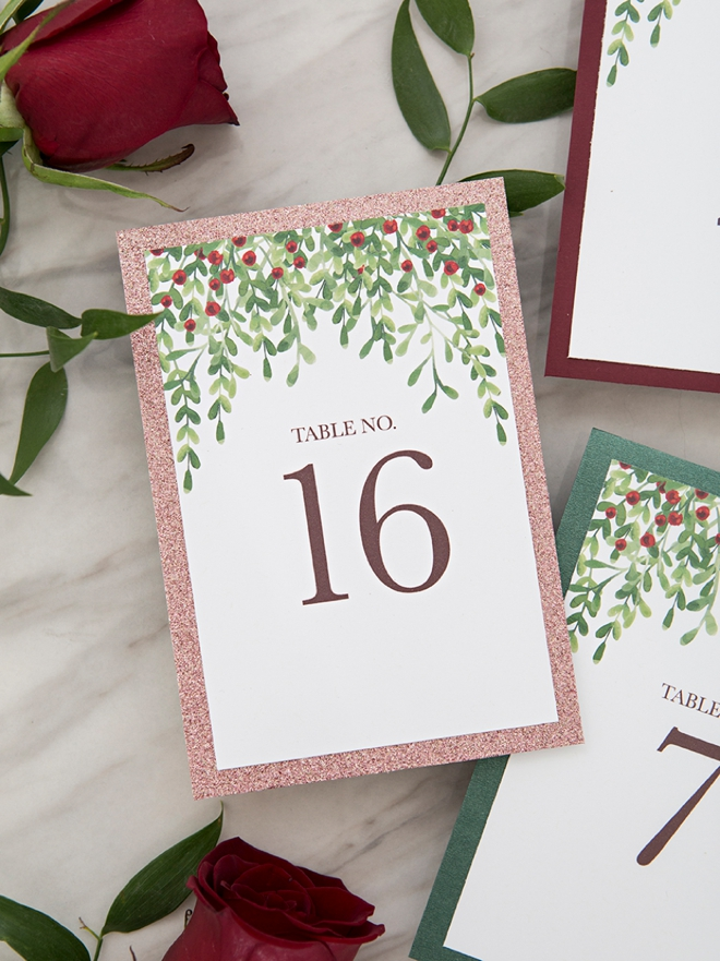 These free printable Christmas inspired table numbers are just darling!