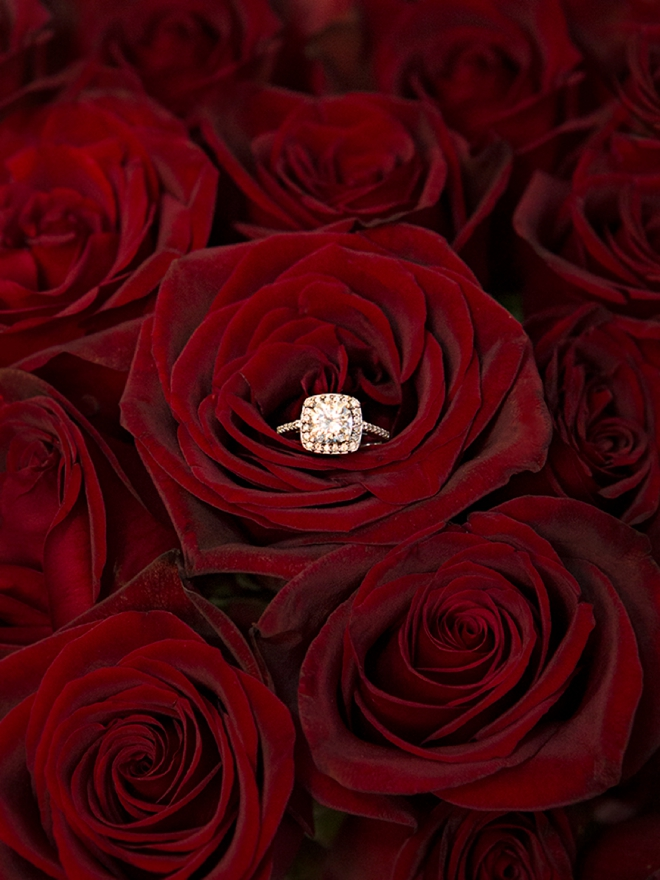Stunning wedding ring shot in the middle of Black Magic roses!