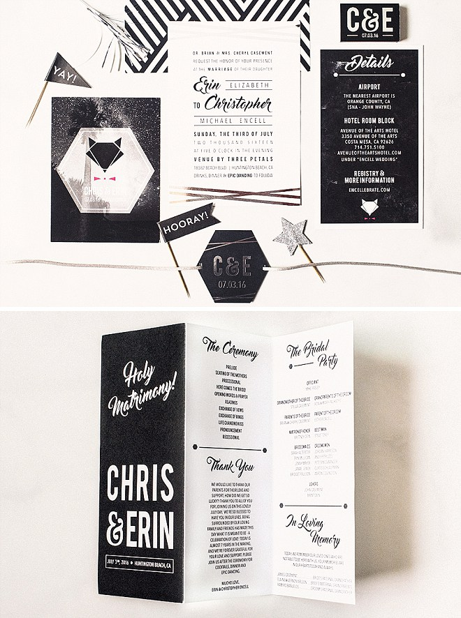 How AMAZING are these invitations the Bride + Groom DIY'd! SO fun!