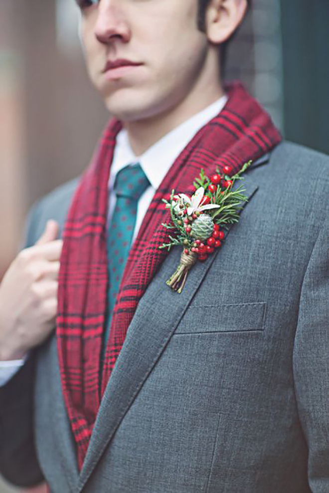 A boutonniere in holiday colors adds a little spirit.