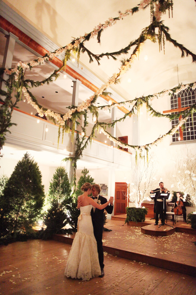 Garland draped over the dance floor is holiday perfection!