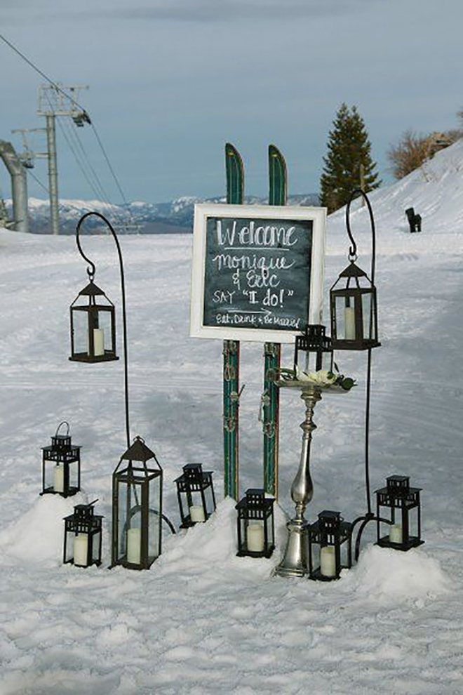 Lanterns add cozy ski lodge ambiance.