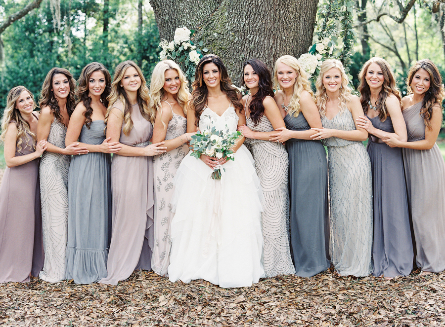 Mix and match bridesmaid dresses - I love this non-traditional idea.