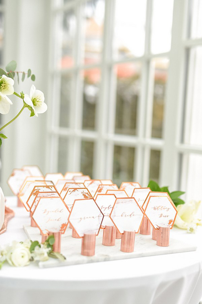 DIY place cards are a great way to incorporate the marble trend.