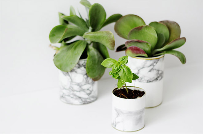 DIY marble planters make for a special modern touch.