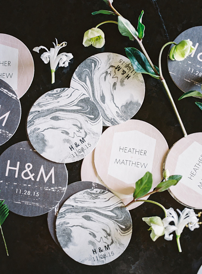 How cute are these personalized marble coasters!?