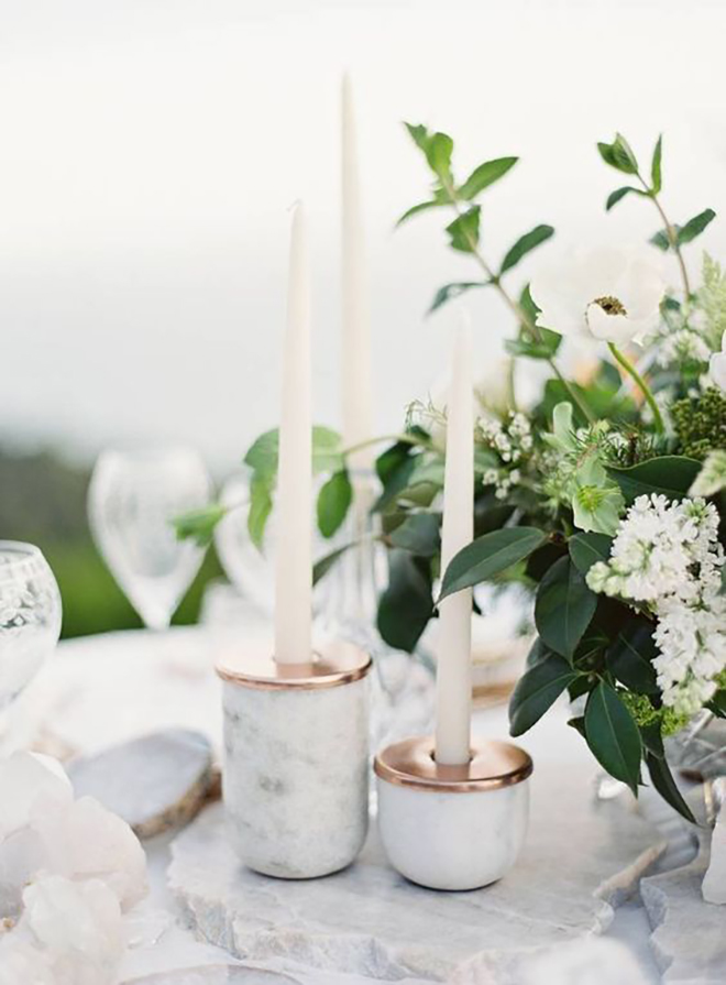 Marble table decor is a lovely touch.