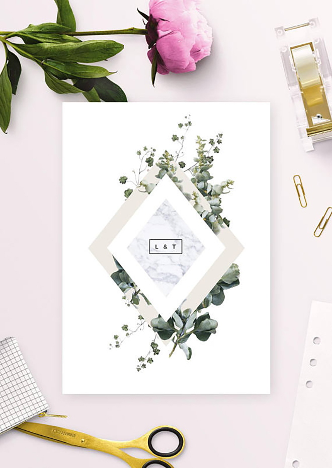Graphic and marble invitations are modern and feminine.
