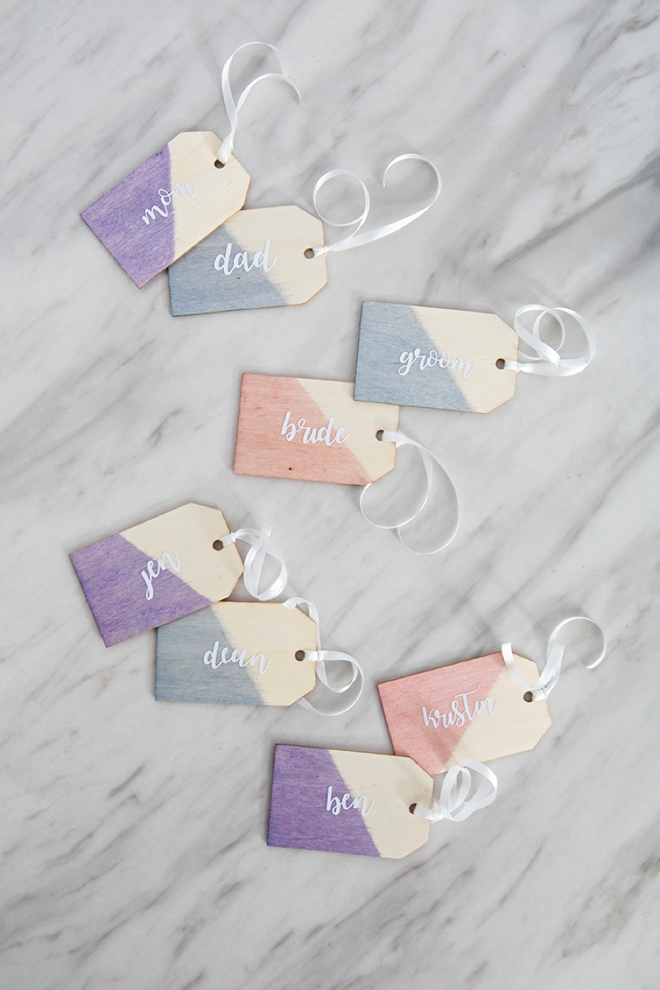 How to make your own dip-dyed wooden tags!