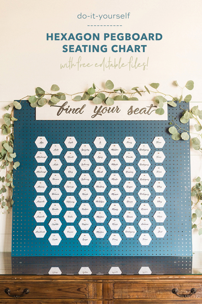 This DIY hexagon pegboard seating chart is amazing!