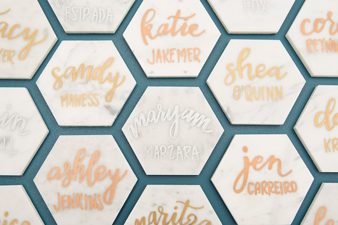 These DIY marble tile escort cards are a darling little detail.