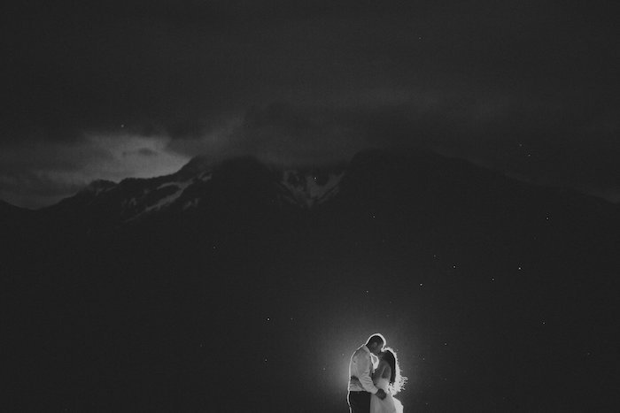 This night wedding photo is STUNNING. WOW. I love the mountains, black and white, and the posing. This is a keeper!