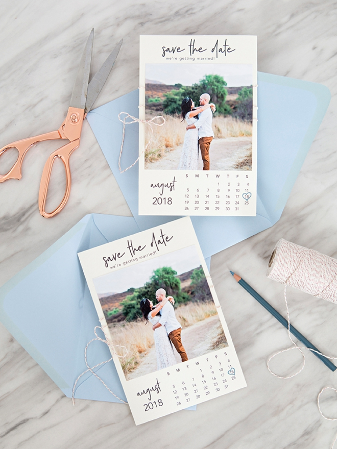 free printable calendar style photo save the date invitations