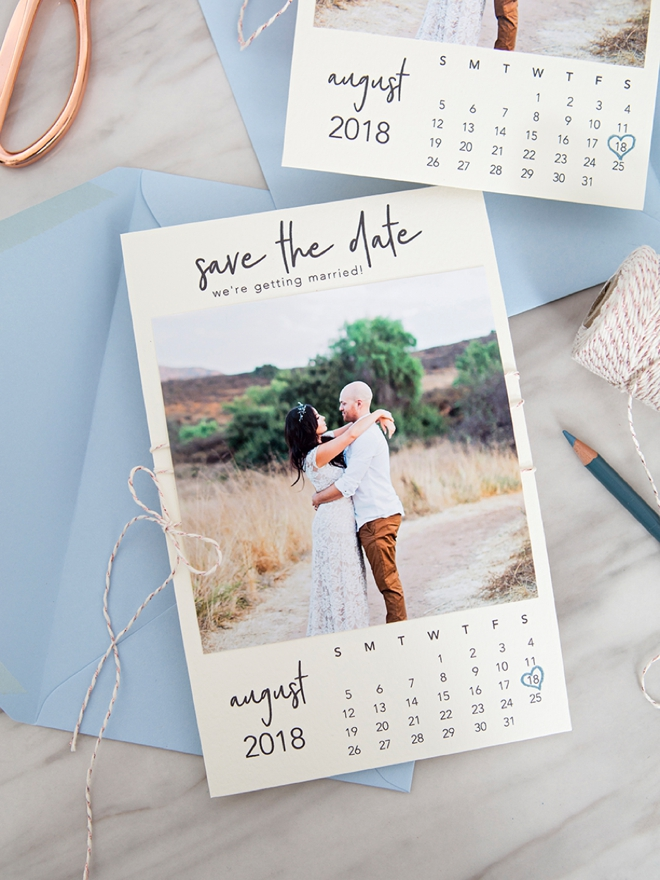 these diy calendar style photo save the dates are so cute