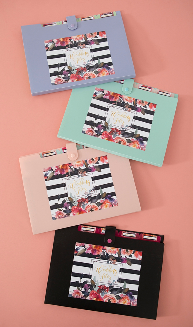 Print these wedding file folder labels for free and add them to any accordion style folder!