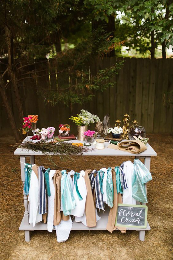 A flower crown station is a beautiful, modern bridal shower activity.