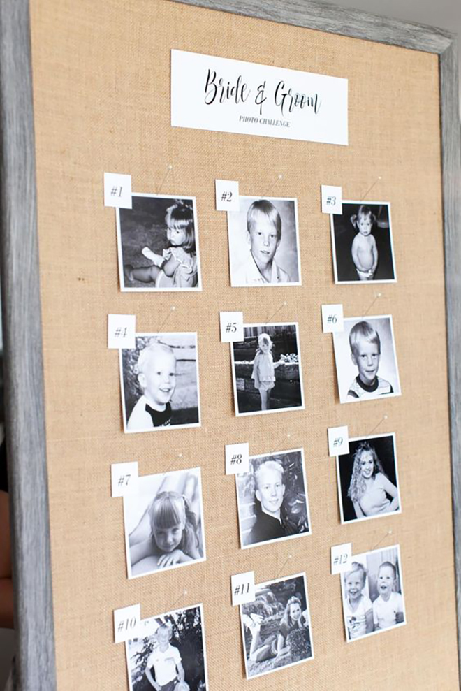 We love this childhood photo game for a bridal shower.