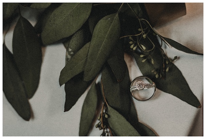 These wedding rings are so pretty, and the eucalyptus is pretty too!