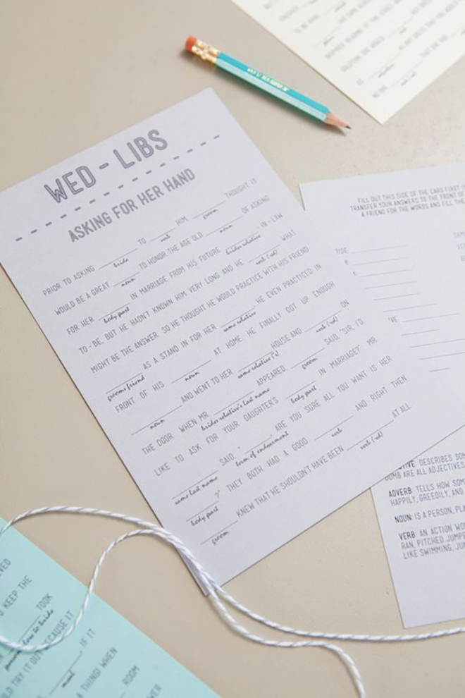 Something Turquoise's wedding Mad Libs make a great shower activity.