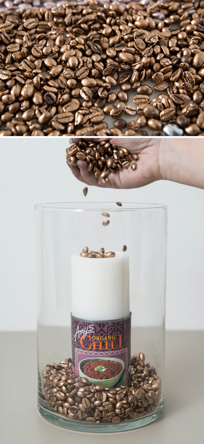Cheap DIY centerpieces, spray painted beans and candles!