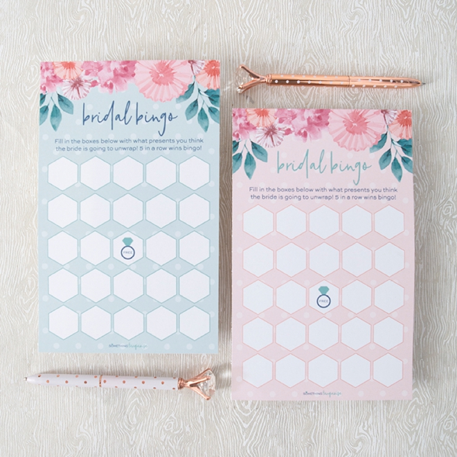 Print these adorable Bridal Bingo game cards for free!