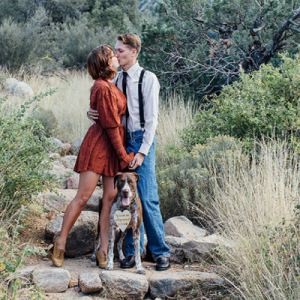 We LOVE this darling couple's New Mexico engagement with their cute pup!