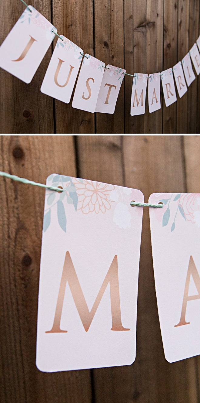 Free printable Just Married banner with a floral design and rose gold letters!